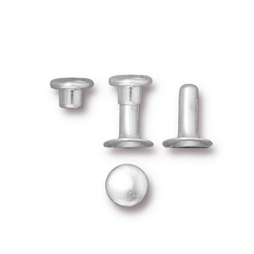 Compression Rivet Set 6mm Cap, Silver Plate, 100 per Pack
