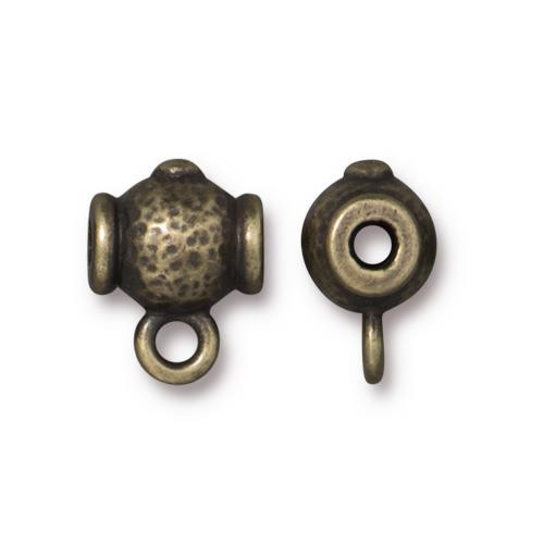 Hammered Guru Bead, Oxidized Brass Plate, 20 per Pack
