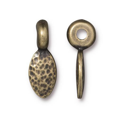 Hammered 17mm Petal Spacer, Oxidized Brass Plate, 20 per Pack