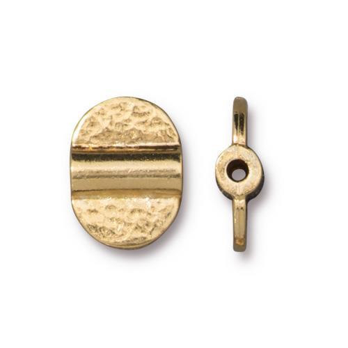 Hammered Baule Bead, Gold Plate, 20 per Pack