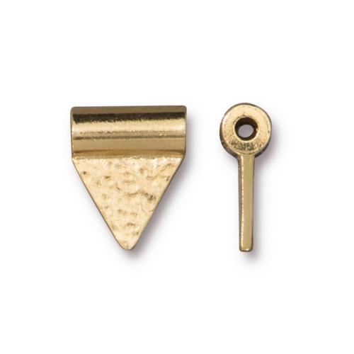 Hammered Flag Bead, Gold Plate, 20 per Pack