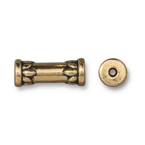 Lotus 15mm Tube Bead, Antiqued Gold Plate, 20 per Pack
