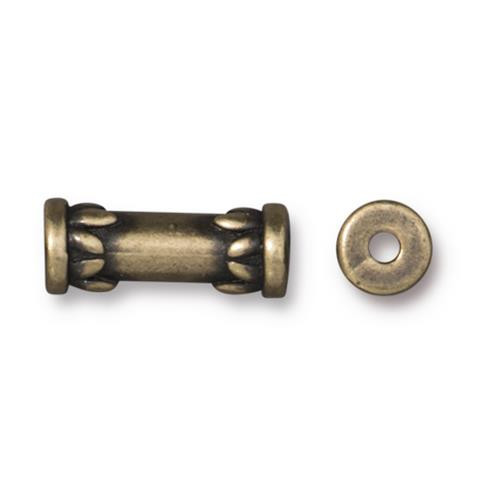 Lotus 15mm Tube Bead, Oxidized Brass Plate, 20 per Pack