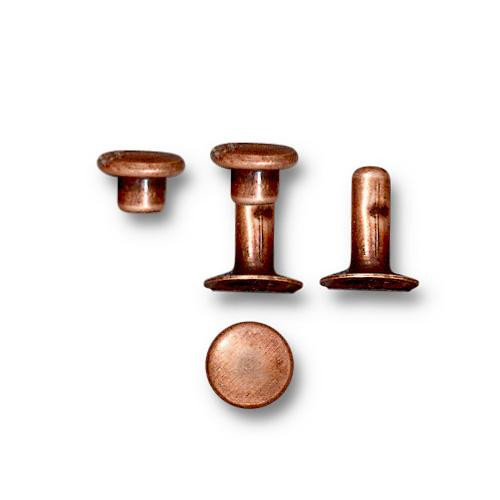 Compression Rivet Set 6mm Cap, Antiqued Copper Plate, 100 per Pack