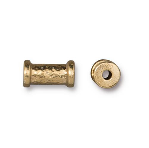Hammered 10mm Tube Bead, Gold Plate, 20 per Pack