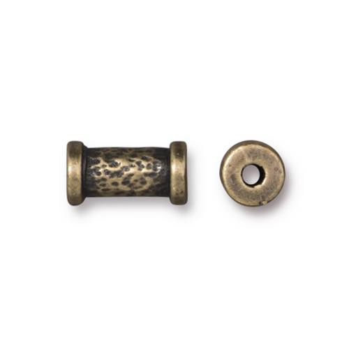 Hammered 10mm Tube Bead, Oxidized Brass Plate, 20 per Pack