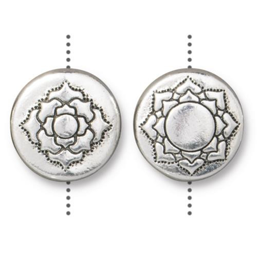 Lotus 14mm Puffed Bead, Antiqued Silver Plate, 10 per Pack