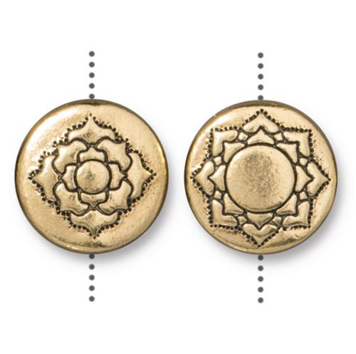 Lotus 14mm Puffed Bead, Antiqued Gold Plate, 10 per Pack