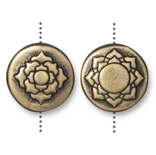 Lotus 14mm Puffed Bead, Oxidized Brass Plate, 10 per Pack