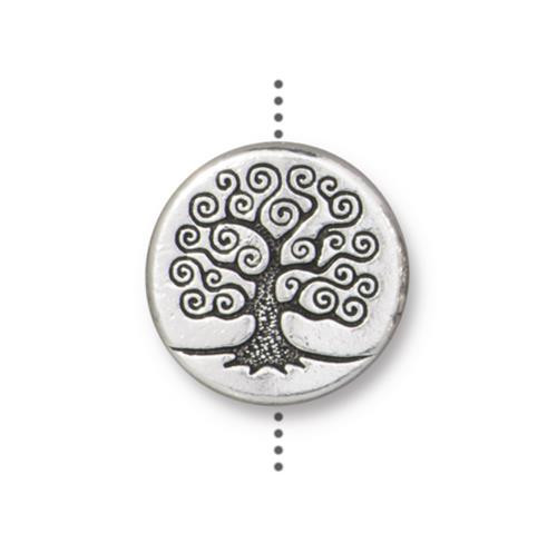 Tree of Life 15mm Puffed Bead, Antiqued Silver Plate, 10 per Pack