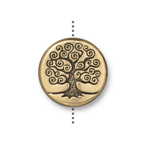 Tree of Life 15mm Puffed Bead, Antiqued Gold Plate, 10 per Pack
