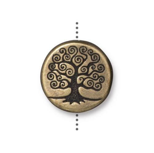 Tree of Life 15mm Puffed Bead, Oxidized Brass Plate, 10 per Pack