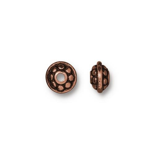 Dotted 7mm Spacer Bead, Antiqued Copper Plate, 100 per Pack