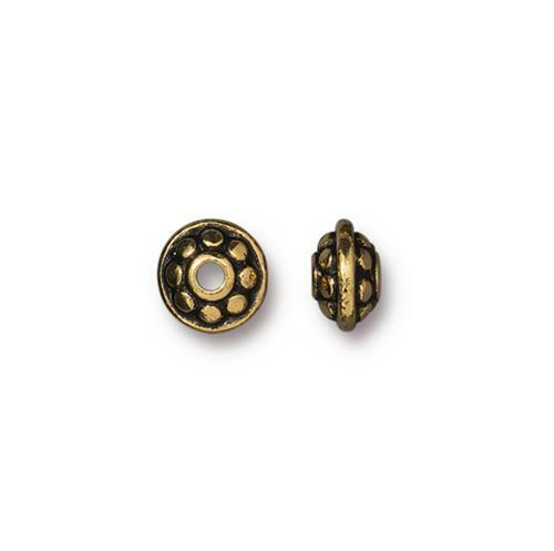 Dotted 7mm Spacer Bead, Antiqued Gold Plate, 100 per Pack