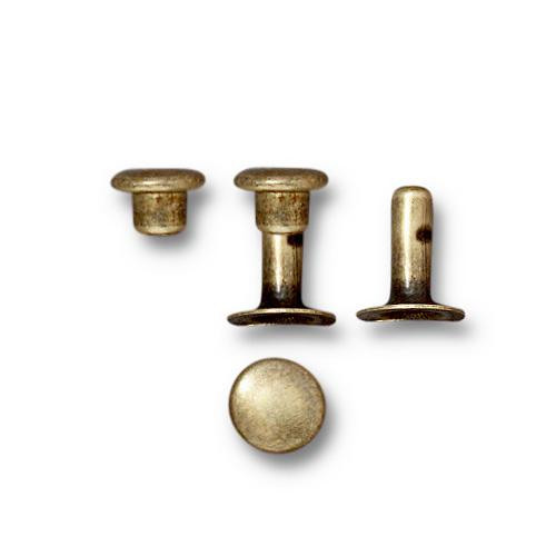 Compression Rivet Set 6mm Cap, Oxidized Brass, 100 per Pack