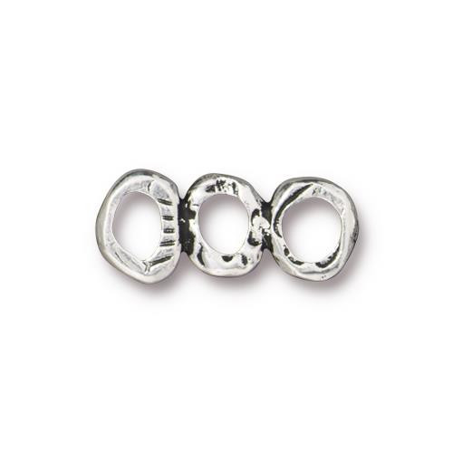 Intermix 3 Ring Bar Link, Antiqued Silver Plate, 20 per Pack