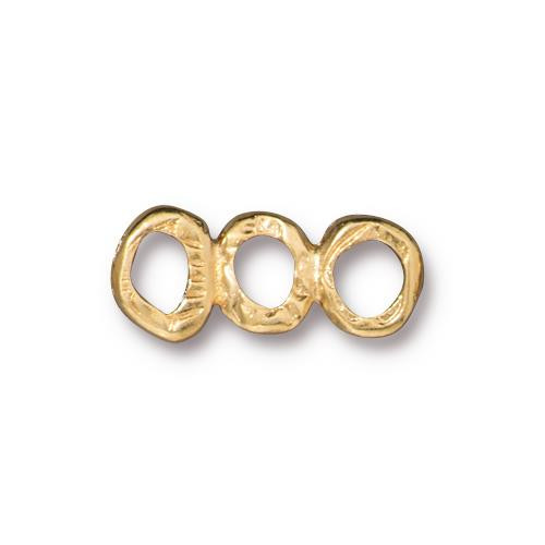 Intermix 3 Ring Bar Link, Gold Plate, 20 per Pack