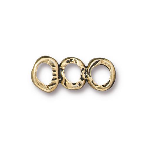 Intermix 3 Ring Bar Link, Antiqued Gold Plate, 20 per Pack