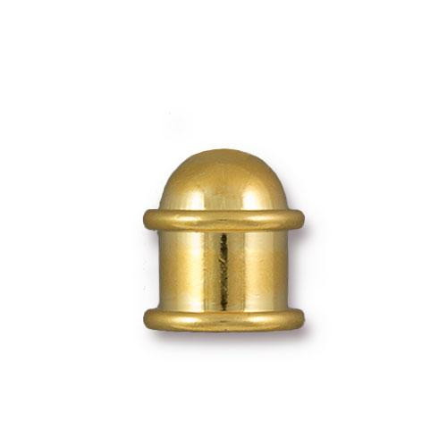 Capitol 8mm Cord End, Gold Plate, 10 per Pack