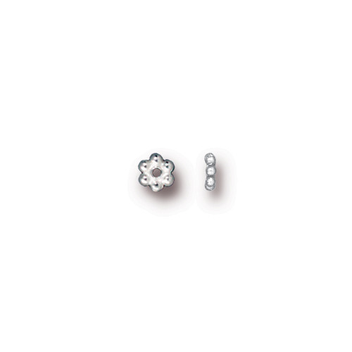 Beaded 3mm Daisy Spacer Bead, Silver Plate, 500 per Pack