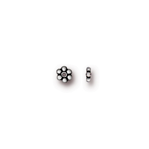 Beaded 3mm Daisy Spacer Bead, Antiqued Silver Plate, 500 per Pack
