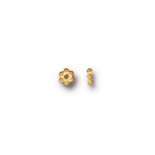 Beaded 3mm Daisy Spacer Bead, Gold Plate, 500 per Pack