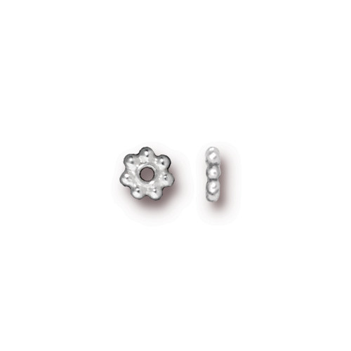 Beaded 5mm Daisy Spacer Bead, Silver Plate, 250 per Pack