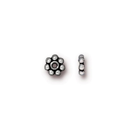 Beaded 5mm Daisy Spacer Bead, Antiqued Silver Plate, 250 per Pack