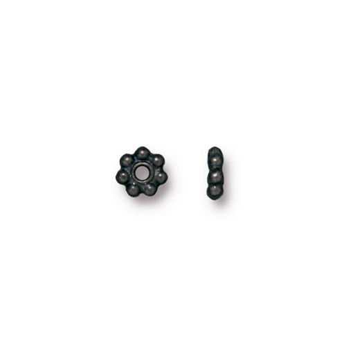 Beaded 5mm Daisy Spacer Bead, Black Plate, 250 per Pack