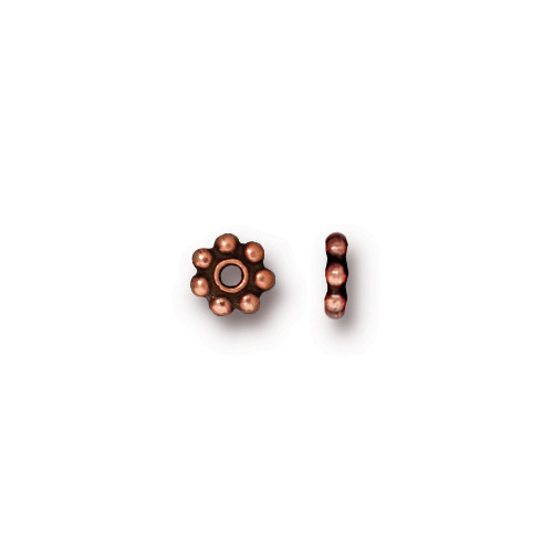Beaded 5mm Daisy Spacer Bead, Antiqued Copper Plate, 250 per Pack