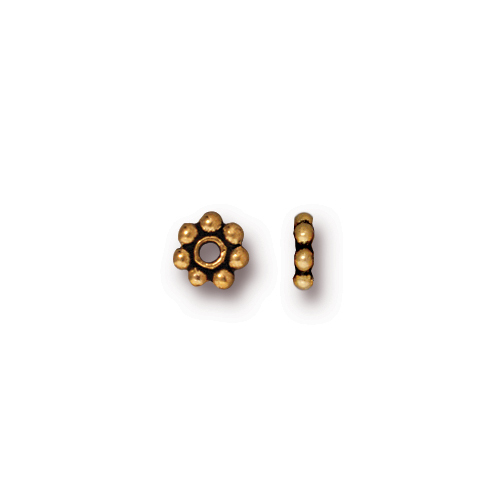 Beaded 5mm Daisy Spacer Bead, Antiqued Gold Plate, 250 per Pack