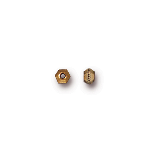 Faceted 3mm Spacer Bead, Antiqued Gold Plate, 500 per Pack