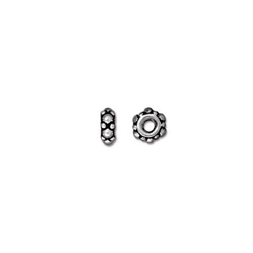 Turkish 4.5mm Spacer Bead, Antiqued Silver Plate, 100 per Pack