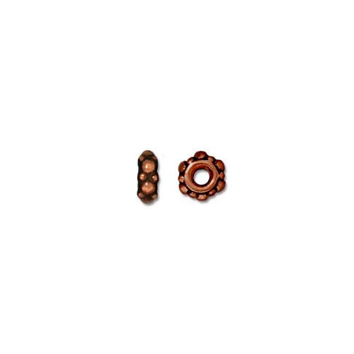 Turkish 4.5mm Spacer Bead, Antiqued Copper Plate, 100 per Pack