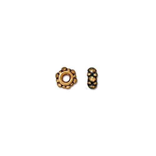 Turkish 4.5mm Spacer Bead, Antiqued Gold Plate, 100 per Pack
