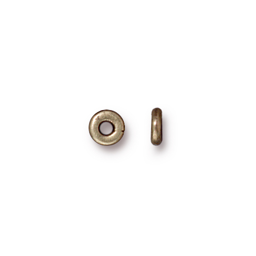 Kenyan 5mm Spacer Bead, Oxidized Brass Plate, 250 per Pack