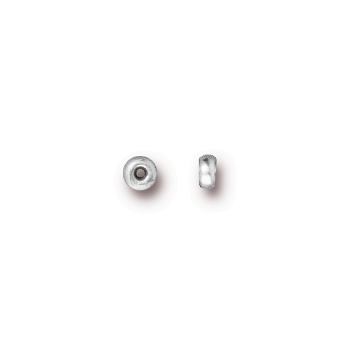Disk 3mm Spacer Bead, Silver Plate, 500 per Pack
