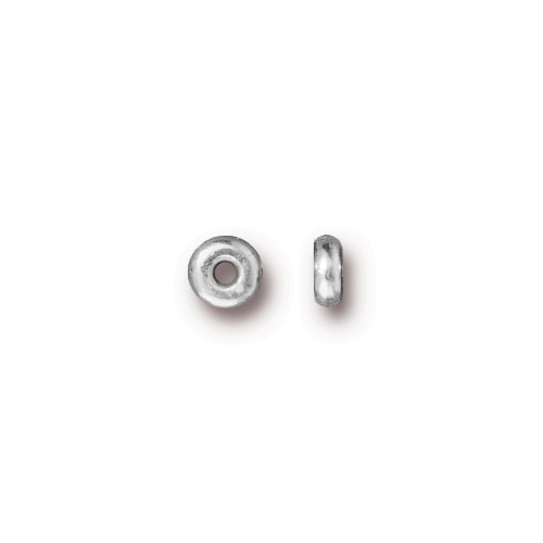 Disk 4mm Spacer Bead, Silver Plate, 250 per Pack
