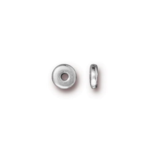 Disk 5mm Spacer Bead, Silver Plate, 250 per Pack