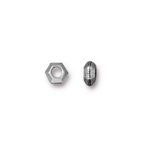 Faceted Large Hole Spacer Bead 5mm, Antiqued Silver Plate, 100 per Pack