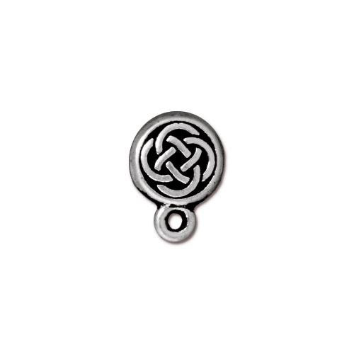Celtic Circle Earring Post, Antiqued Silver Plate, 10 per Pack