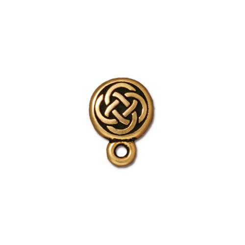 Celtic Circle Earring Post, Antiqued Gold Plate, 10 per Pack