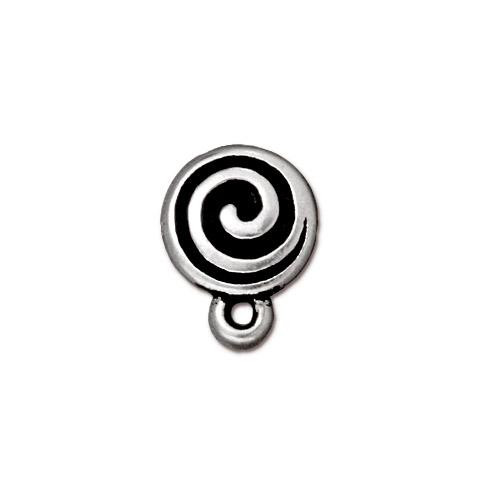 Spiral Earring Post, Antiqued Silver Plate, 10 per Pack