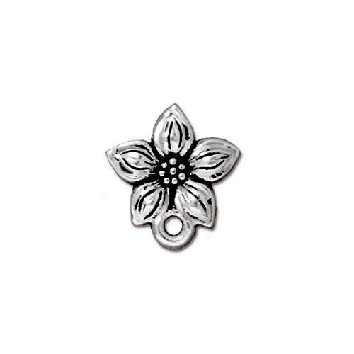 Star Jasmine Earring Post, Antiqued Silver Plate, 10 per Pack