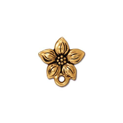 Star Jasmine Earring Post, Antiqued Gold Plate, 10 per Pack