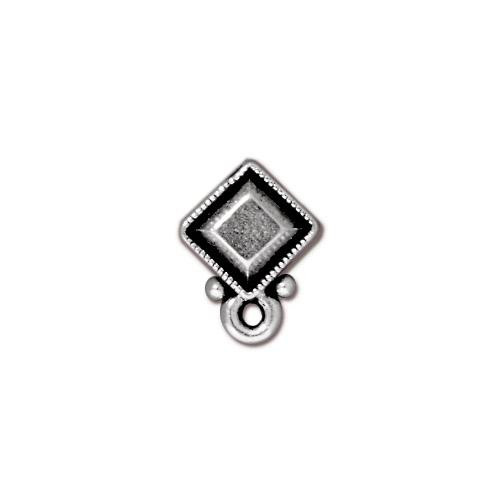 Faceted Diamond Earring Post, Antiqued Silver Plate, 10 per Pack