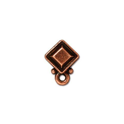 Faceted Diamond Earring Post, Antiqued Copper Plate, 10 per Pack