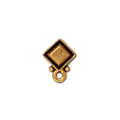 Faceted Diamond Earring Post, Antiqued Gold Plate, 10 per Pack