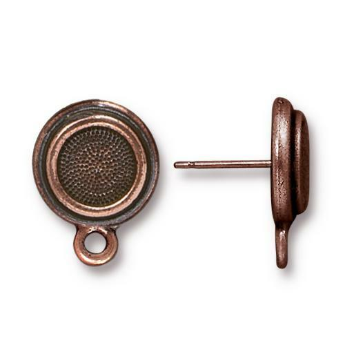 Stepped Bezel Earring Post, Antiqued Copper Plate, 10 per Pack