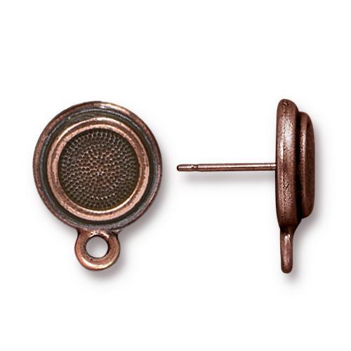 Stepped Bezel Earring Post, Antiqued Copper Plate, 10 per Pack